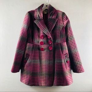 Plaid pink peacoat jacket small pink Multicolor